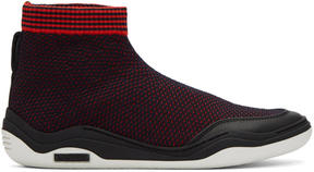 Lanvin Red and Navy Mesh High-Top Sneakers