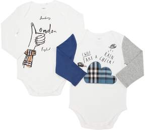 Burberry Set Of 2 Cotton Jersey Bodysuits