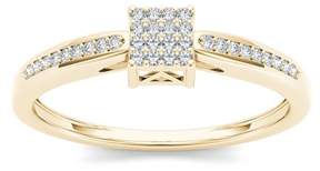 Imperial Star 1/10Ct TDW Diamond 10K Yellow Gold Cluster Engagement Ring