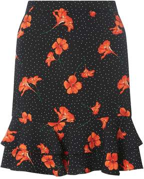Dorothy Perkins Black Spotted and Floral Print Mini Skirt