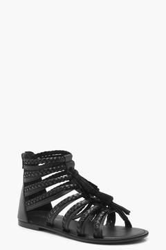 boohoo Wide Fit Multi Strap Fringe Sandals