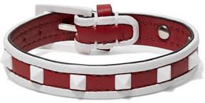 Valentino Garavani The Rockstud Leather Bracelet - Red