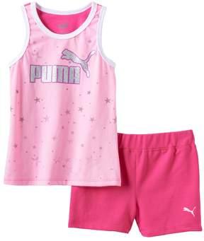 Puma Girls 4-6x Glitter Stars Tank & Shorts Set