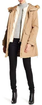 Ellen Tracy Hooded Faux Fur Trim Parka
