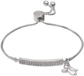 Brilliance+ Brilliance Silver Plated Angel Charm Bolo Bracelet with Swarovski Crystals