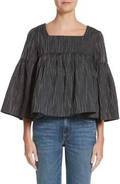 Co Stripe Crinkle Cotton Blend Swing Top