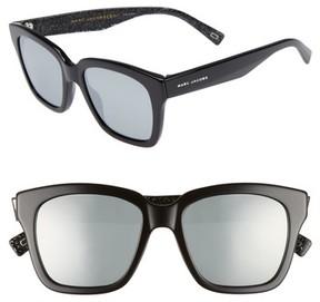 Marc Jacobs Women's 52Mm Square Sunglasses - Black Glitter/ Black Mirror
