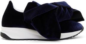 Joshua Sanders Navy Velvet Bow Slip-On Sneakers