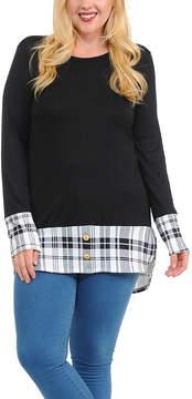 Celeste Black Plaid-Trim Button-Accent Tunic - Plus