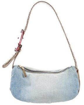 Roberto Cavalli Snakeskin-Trimmed Shoulder Bag