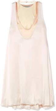 Valentino Hammered-satin Mini Dress - Cream