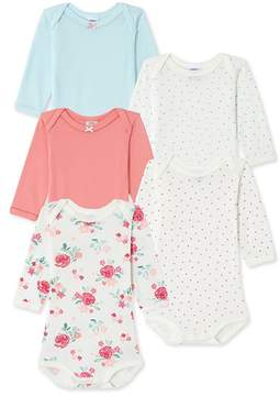 Petit Bateau Set of 5 baby girls printed and plain bodysuits