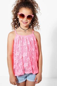 boohoo Girls Flamingo Lace Swing Vest