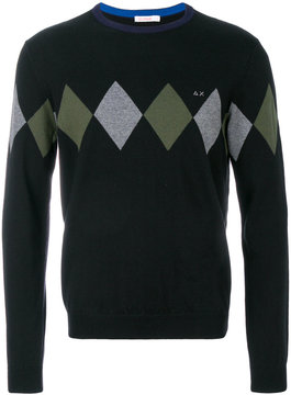 Sun 68 argyle knitted sweater