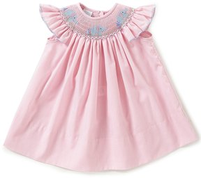 Edgehill Collection Baby Girls 3-9 Months Elephant Checked Smocked Bishop Dress