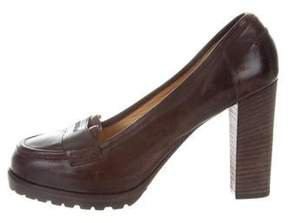 Brunello Cucinelli Leather Round-Toe Pumps