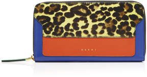 Marni Leopard-Print Calf Hair And Two-Tone Leather Wallet