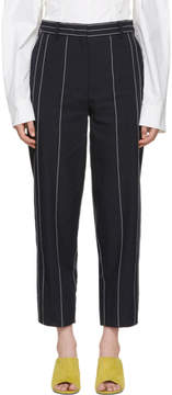 Cédric Charlier Navy Pinstripe Trousers