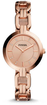 Fossil Kerrigan Three-Hand Rose Gold-Tone Stainless Steel Watch