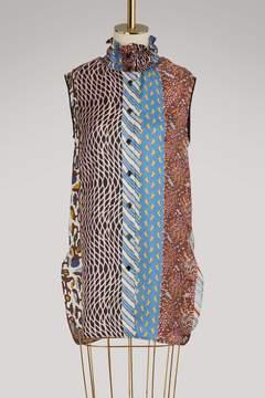 Carven Smocked collar silk sleeveless shirt