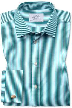 Charles Tyrwhitt Slim Fit Bengal Stripe Green Cotton Dress Shirt French Cuff Size 15.5/33