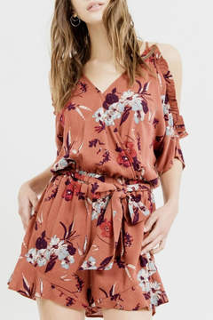 Blu Pepper Cold Shoulder Floral Romper