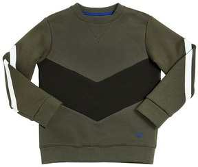 Armani Junior Chevron Cotton Sweatshirt W/ Stripes