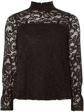 Dorothy Perkins Black Lace Shirred Cuff Top