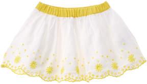 Chicco Girls' White Scalloped Linen-Blend Skirt
