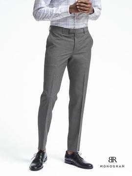 Banana Republic Slim Monogram Gray Wool Blend Suit Trouser