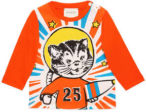 Gucci Baby cotton shirt with space cat print