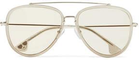 Alice + Olivia Alice Olivia - Lincoln Aviator-style Glittered Acetate And Gold-tone Sunglasses