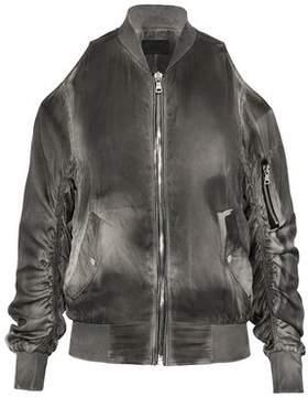 RtA Cold-Shoulder Washed-Silk Bomber Jacket