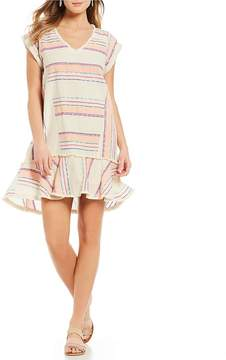 Chelsea & Theodore Short Sleeve V-Neck Stripe Tunic Dress