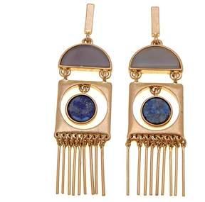 Danielle Nicole Horizon Goldtone Geometric Stone Fringe Earrings