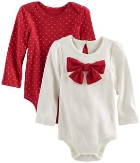 Baby Starters Baby Girl 2-pk. Polka-Dot & Bow Bodysuits