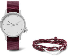 Miansai Stainless Steel And Canvas Watch And Silver-Plated Cord Wrap Bracelet Set