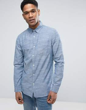 New Look Regular Fit Chambray Shirt In Blue