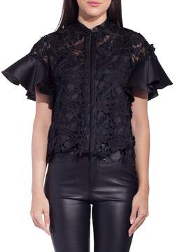Dice Kayek Lace Front Blouse With Ruffle Sleeve Black