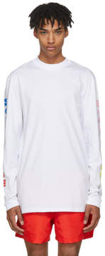 MSGM White Long Sleeve Arm Logo T-Shirt