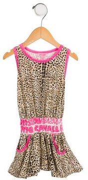 Roberto Cavalli Girls' Leopard Print Racerback Dress