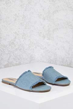 Forever 21 Frayed Denim Slide Sandals