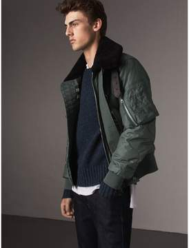 Burberry Shearling Collar Quilted Bomber Jacket