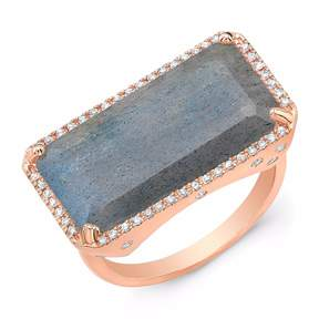 Anne Sisteron Rose Gold Diamond Base Labradorite Ring