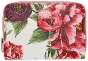 Dolce & Gabbana Pink Peonies Logo Zip Wallet