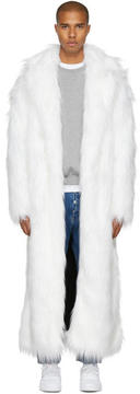 Pyer Moss White Long Faux-Fur Coat