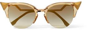 Fendi Embellished Cat-eye Gold-tone And Acetate Sunglasses