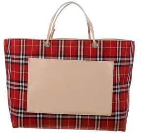 Burberry Check Leather-Trimmed Tote