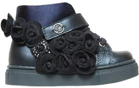 Miss Blumarine Leather & Suede High Top Sneakers