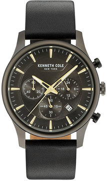 Kenneth Cole New York Men's Black Leather Strap Watch 43mm KC15106004